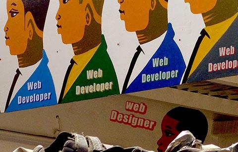 Dakar : enseigne d'un coiffeur détournée