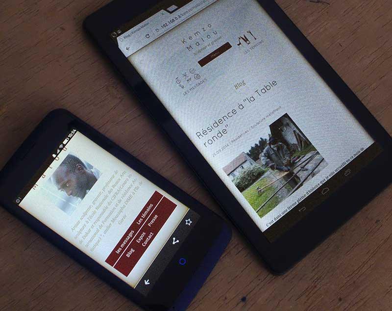 """Affichage du site sur smartphone 4"""" & tablette 7"""""""