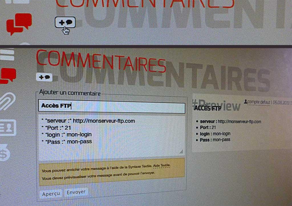 Interface d'ajout d'un commentaire à un projet